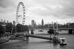 Thames River view from Waterloo Bridge, London. Thames River panorama with London Eye and Westminster Palace in black and white in London. View from Waterloo Stock Photos