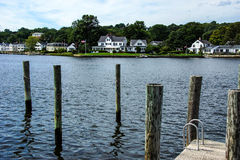 Thames river. With wooden piers and wharfs, Old Mystic Seaport, Connecticut Royalty Free Stock Photography