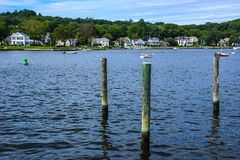 Thames river. Thames river with wooden piers and wharfs, Old Mystic Seaport, Connecticut Royalty Free Stock Photos