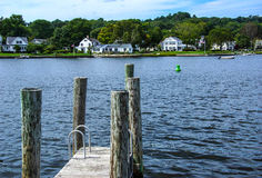 Thames river. With wooden piers and wharfs, Old Mystic Seaport, Connecticut Stock Photography