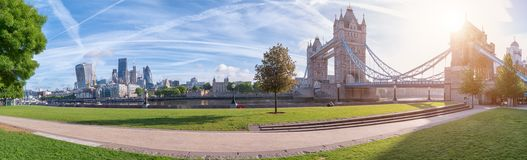 Thames riverside panorama with Tower Bridge. And businness district royalty free stock images