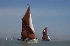 Thames Sailing Barges. A Thames spritsail barge off the coast of the UK Royalty Free Stock Images