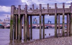 Thames Shoreline View of St Paul`s and New London Skyline royalty free stock photography