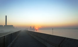 essex uk river thames at sunrise  Royalty Free Stock Photo