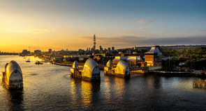 Thames tidal barrier at sunrise royalty free stock photo