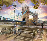 Thames, Tower Bridge, London. A view of Tower Bridge from the Thames Royalty Free Stock Image