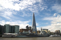 Thames view. London skyline and Thames boats Stock Photo