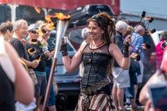 Thames,Waikato - November 10 : Steam Punk parade on November 10, 2018 on the main street of Thames in New Zealand . stock photo