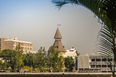 Thammasat University, Tha Pachan campus view from Chao Phraya River. Thammasat is Thailand's second oldest institute of higher ed. Ucation, established in 1934 stock photos