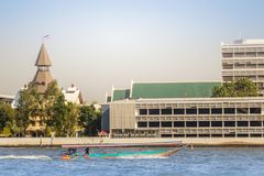 Thammasat University, Tha Pachan campus view from Chao Phraya River. Thammasat is Thailand's second oldest institute of higher ed. Ucation, established in 1934 stock image