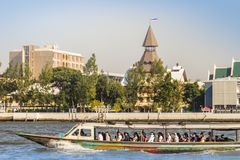 Thammasat University, Tha Pachan campus view from Chao Phraya River. Thammasat is Thailand's second oldest institute of higher ed. Ucation, established in 1934 stock photography
