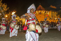 Thammattam Players perform at the Esala Perahera in Kandy, Sri Lanka. The drum is tied around the performers waist to allow free movement of the hands and feet Royalty Free Stock Photo
