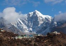 Thamserku mount in Sagarmatha National park, Nepal Himalayas. Thamserku mount, elevation 6623 m in Sagarmatha National park, Nepal Himalayas Royalty Free Stock Photo