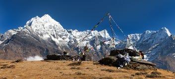 Thamserku, mount Kyashar and Kusumkhang Karda Royalty Free Stock Images
