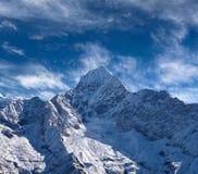 Thamserku mount in Sagarmatha National park, Nepal Himalayas. Thamserku mount, elevation 6623 m in Sagarmatha National park, Nepal Himalayas Royalty Free Stock Photography
