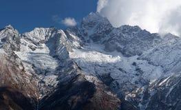 Thamserku mount in Sagarmatha National park, Nepal. Panorama of Thamserku mount, elevation 6623 m in Sagarmatha National park, Nepal Himalayas Stock Photos
