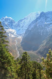 Thamserku peak from everest trek route Stock Photo