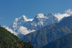 Thamserku peak. In Nepal Everest trekking Royalty Free Stock Images