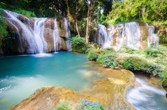 Than sawan Waterfall, Paradise waterfall in Tropical rain forest of Thailand , water fall in deep forest at border of Chaing rai a. Nd phayao Thailand royalty free stock image