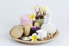 Thanakha powder and fresh milk for the skin feeling soft and smooth. Royalty Free Stock Image