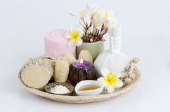 Thanakha powder and honey for want to treat facial acne and skin soft. From natural raw materials Stock Photo