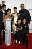 Thandie Newton, Trey Smith, Will Smith, Jada Pinkett Smith, Willow Smith och Jaden Smith Arkivbilder