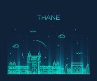 Thane skyline silhouette vector linear style Stock Photography