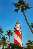 Thangassery Lighthouse on the cliff surrounded by palm trees and big sea waves on the Kollam beach. Kerala, India Stock Photo