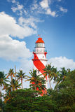Thangassery Lighthouse on the cliff surrounded by palm trees and big sea waves on the Kollam beach. Kerala, India Stock Photography