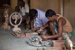 THANGAUR, INDIA-FEBRUARY 13: Sculptor in the workshop 13, 2013 i Stock Photography