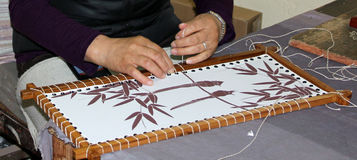 Thangka Painting on cloth. Royalty Free Stock Photos