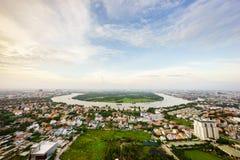 Thanh Da半岛,日落的胡志明市,越南全景  库存照片
