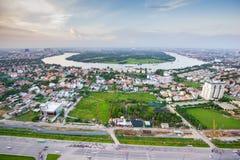 Thanh Da半岛,日落的胡志明市,越南全景  图库摄影