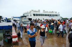 Thanh Thoi ferry boat, Ha Tien, Phu Quoc Stock Photo
