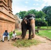 THANJAVOUR,印度- 2月13 :未认出的人坐在 免版税库存图片