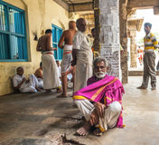 THANJAVOUR,印度- 2月14 :未认出的印地安人是 库存图片