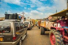 THANJAVOUR,印度- 2月13 :stan一个未认出的印地安的人 免版税库存图片