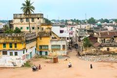 THANJAVOUR, ИНДИЯ - 14-ОЕ ФЕВРАЛЯ: Взгляд сверху города Thanjavour Стоковое Фото