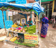 THANJAVOUR, ИНДИЯ - 14-ОЕ ФЕВРАЛЯ: Неопознанная женщина в tradit Стоковое Фото