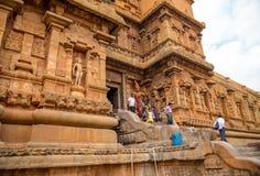 THANJAVOUR, INDIA - FEBRUARI 13: Niet geïdentificeerde Indische mensen i Stock Afbeeldingen