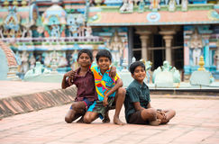 THANJAVOUR, INDIA - FEBRUARY 14: An unidentified boys were sitti Royalty Free Stock Photography