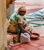 THANJAVOUR, INDIA - FEBRUARY 14: An unidentified Indian woman  i Stock Images