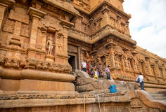THANJAVOUR INDIA, LUTY, - 13: Niezidentyfikowani Indiańscy ludzie ja Obrazy Stock