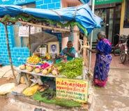 THANJAVOUR INDIEN - FEBRUARI 14: En oidentifierad kvinna i tradit Arkivfoto