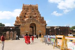 Thanjavur Brihadeeswarar Temple with visiting devotees entering temple Royalty Free Stock Image