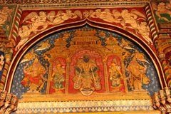Nice old painting that is called tanjore painting in ministry hall- dharbar hall- of the thanjavur maratha palace Royalty Free Stock Images