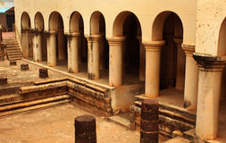 The thanjavur maratha palace pillars. The Thanjavur Maratha Palace Complex, known locally as Aranmanai, is the official residence of the Bhonsle family who ruled stock photo