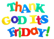 Thank God it's Friday. Written in a mix of colorful plastic letters stock image