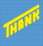 Thank in isometric style. Yellow text thank in isometric style Stock Image