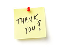 Thank  note on with clipping path Royalty Free Stock Photo